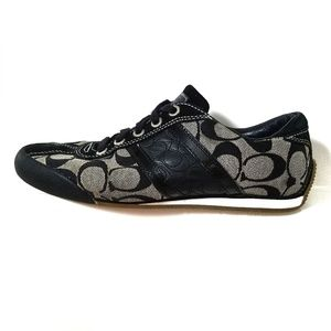 Coach Meagan signature C black and tan sneakers